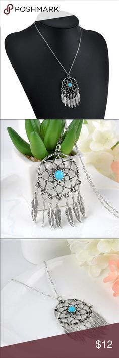 """Boho Dream Catcher Necklace Boho Dream Catcher Necklace with bohemian beads and leaves. Adjustable chain length is 16""""-18"""".                                                                     Item #117 Jewelry Necklaces"""