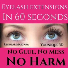 With Younique mascara you can skip the false lashes and lash extensions and get a 300% increase in your lashes with just our Mascara.  Naturally based, hypoallergenic and water resistant it is very easy on your eyes.  We have a love it guarantee so you can buy it worry free.  #youniquemascara https://www.youniqueproducts.com/lashestothemax/products/view/US-1017-00#.VPnuhuFjpaY