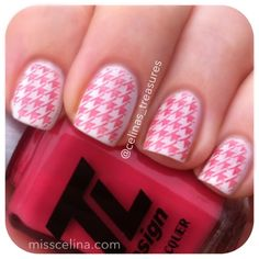 Houndstooth design from March 2013 (NAIL ART BLOG MissCelinas). Used Soft Coral from TL Design for the stamping.