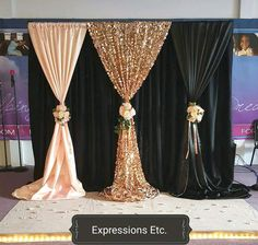 X Black With Hotpink Wedding Backdrop With Beautiful Swag Stage Curtain Dr. - Home Wedding Decor - Hochzeit Gold Backdrop, Backdrop Decorations, Wedding Decorations, Wedding Ideas, Backdrop Ideas, Prom Decor, Decoration Party, Decor Wedding, Wedding Themes