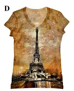 woman plus size  Eiffel Tower night view print top t by hellominky