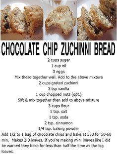 CHOCOLATE CHIP ZUCHINNI BREAD