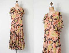 vintage 1920s dress / 20s silk chiffon floral print by SwaneeGRACE