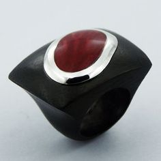 ❤︎ Hand Carved Wood Ring. Red Sponge Coral Perfectly Set In Sterling Silver. Modern Ring. Womens Ring. Wooden Ring. Studio BB Designs ❤︎