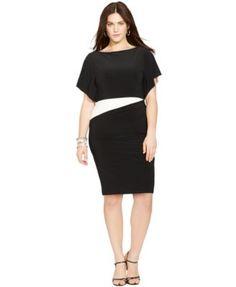 Lauren Ralph Lauren Plus Size Flutter-Sleeve Colorblocked Dress