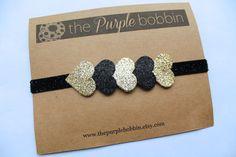 Black and Gold Glitter Hearts Headband-Baby Headband-Toddler Headband-Newborn-Hairbow