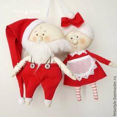 Купить Mr & Mrs Claus Текстильные куклы - подвески Игрушки на елку - санта