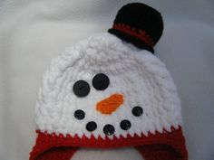 Adorable Crocheted Snowman Baby Hat   by KraftyGrannysHome on Etsy, $16.00