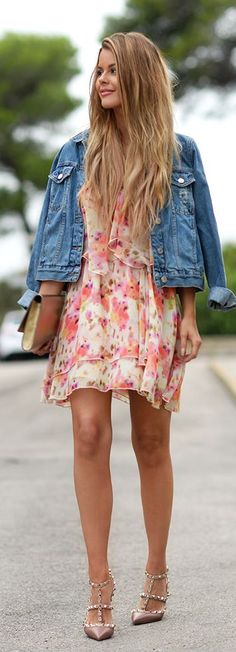 Pinterest @ dapperNdame Denim Jacket On Floral Dress Fall Inspo by Annette Haga