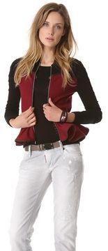alexander mcqueen Zip Knit Peplum Jacket $550.00
