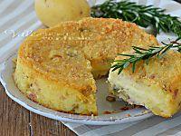 TORTINO DI FUNGHI E PATATE con prosciutto cotto e formaggio