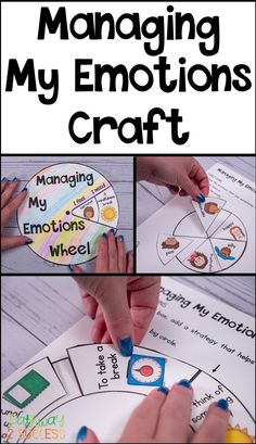 Have kids make their own managing my emotions craft that helps identify feelings and coping strategies. Kids can use pre-made examples or create their own individualized wheels with feelings and strategies specific to their needs! Coping Skills Activities, Social Emotional Activities, Counseling Activities, Art Therapy Activities, Emotions Wheel, My Emotions, Special Education Teacher, Kids Education, Social Work