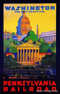 Washington D.C. Pennsylvania Railroad 1920s Vintage Travel Poster - Giclee Fine Art Print