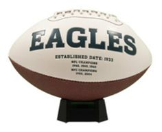 NFL Philadelphia Eagles Signature Series Team Full Size Footballs by The License Products Company. $23.95. Embroidered team logo on the front. Team championship history listed on the back. Signature Series football. Includes an autograph pen. 3 smooth white panels for ample autograph signing space. The classic NFL Signature Series team football from K2 features a full color embroidered team logo prominently displayed on the front and team championship history l...