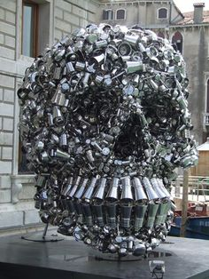 2 Very Hungry God by Subodh Gupta Giant Skull Made of Pots and Pans
