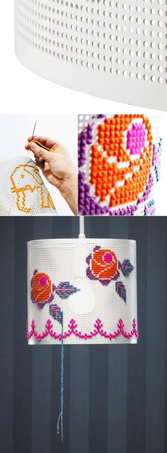 Taklampa Stitch (Pendant Stitch Lamp) from LampGustaf.  The pendant lamp comes with a starter embroidery kit.