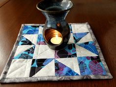 Patchwork Candle Mat or Mug Rug/Snack Mat star by StephsQuilts