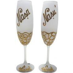Pahare din cristal de Boehmia, matizate si personalizate cu fir de aur de 12%: Nasul si Nasa - un excelent cadou pentru nasi. Aur, Wine Glass, Glasses, Tableware, Handmade, Crystals, Eyewear, Dinnerware, Hand Made