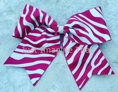 3 Width Cheer Bow 7x6.5 Texas Size Cheer Maroon and Silver Glittered Zebra by JustImagineThatBows