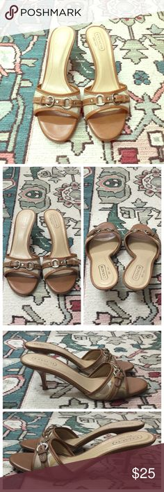 """Vintage Coach Kitten Heel Sandals in Tan In good used condition. Vintage Coach sandals with signature fabric strap and leather buckle with silver tone accents. Kitten heel measures approx. 2.5"""". Bottom shows wear, but upper and heel is clean. 🍂 Coach Shoes Sandals"""