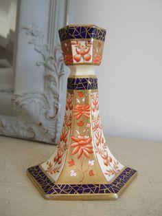"c1880 Scarce 5"" Victorian WEDGWOOD GILT IMARI Porcelain CANDLESTICK"