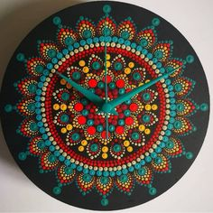 Items similar to Yellow/Purple Mandala Dotted Wall Clock on Etsy Clock Painting, Dot Art Painting, Mandala Painting, Stone Painting, Mandala Canvas, Mandala Art, Record Crafts, Vinyl Record Art, Mandala Rocks