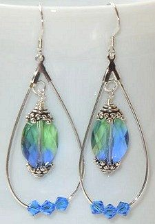 Teardrop Hoop Swarovski Crystal Earrings Choose Your Own Colors on Etsy, $15.00