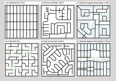Taking the Guesswork out of Designing for Walkability - Features Urban Design Diagram, Urban Design Plan, City Skylines Game, City Grid, City Layout, Urban Road, Skyline Design, Concept Diagram, Map Design