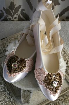 SELINA romantic Victorian, vintage inspired lace embellished fairytale ballet slipper wedding shoes, flats, made to order sizes 5 - 11, via Etsy.
