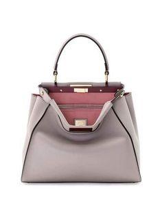 Fendi Peekaboo Medium Bicolor Tote Bag, Light Gray Soft Pink Fendi Peekaboo  Bag, 4af4d1d4740