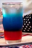 Fourth of July drink.  Apparently, this works, but you must use the exact ingredients in this order:  3 oz. cranberry juice cocktail followed by 3 oz. bright blue Gatorade, followed by 3 oz. Diet Sprite or Sprite Zero.