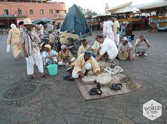Het Djeema el Fna plein is een goede plek om uit te hijgen van onze tocht door de medina. Op een terras in een van de omliggende restaurantjes drinken we een verse jus d'orange terwijl we kijken naar de #slangenbezweerders, medicijnmannen en verhalenvertellers die #toeristen proberen te strikken in de avondzon. #Marrakech #Morocco #Marokko #slangenbezweerder #djeemaelfna #cobra #jemaaelfna