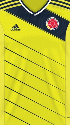 Colombia (world cup) kit home Soccer Art, Top Soccer, Soccer Poster, Soccer Tips, Adidas Soccer Jerseys, Soccer Uniforms, Football Jerseys, Team Wallpaper, Football Wallpaper