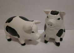 Vintage Pig Piggy Salt and Pepper Shakers Ceramic Black and White Pigs