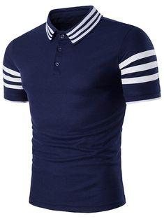 Buy Turndown Collar Striped Design T-Shirt - Cadetblue - online, fidn many other Men's Clothing Slim Fit Polo Shirts, Polo T Shirts, Men Shirts, New Casual Fashion, Men's Fashion, Nigerian Men Fashion, Mens Clothing Styles, Men's Clothing, Camisa Polo