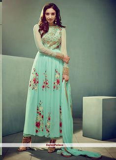 Adorable Turquoise Embroidered Work Faux Chiffon Anarkali Salwar Suit