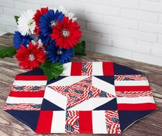 Easy Patriotic Table Topper By Laird, Cathey  - 18in x 18in. Uses Creative Grids CGR9.Project Time: -2 Hour.Fabric Type: Yardage Friendly. Project Type: Home.  Cut Loose Press patterns are available in quantities of 6 or greater, so they are perfect for kits or hosting any size class! Printed on demand, we can handle your class of 7, 22, or 159. Get exactly what you need! Each pattern is customized with your shop's Bill-To account name, phone number, and web site on 8 1/2 x 11 anti-copy…