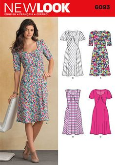 New Look 6093 misses' 1940's inspired bias cut dress with skirt panels and sleeve variations.