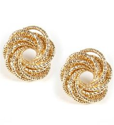 Gold Coiled Stud Earrings...I have a pair just like this and they go with everything!!