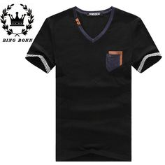 Find More T-Shirts Information about BingBonn 2015 Fashion Black White Men T Shirts Summer Casual Short Pocket Hot O Neck Size  XL L M S Man Tops 15%Off,High Quality top flite golf balls,China t-shirt outlet Suppliers, Cheap top laser from King Fashion 2014 on Aliexpress.com
