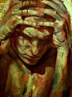 """Used material"" - Jakub Kujawa {figurative male #expressionist art man painting}"