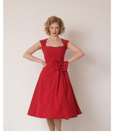 Buyers loved this dress.. read the comments frst!! 'Grace' Classy Vintage 1950's Rockabilly Style Red Bow Swing Party Dress £29.99