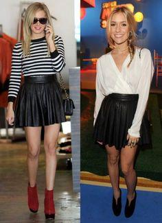 Ashley-Tisdale-vs-Kristin-Cavallari-in-Alice-+-Olivia+Black-leather-pleated-skirt.jpg 450×620 pixels