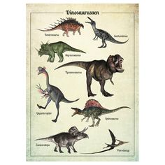 vintage poster dinosaurussen | Little & Pure