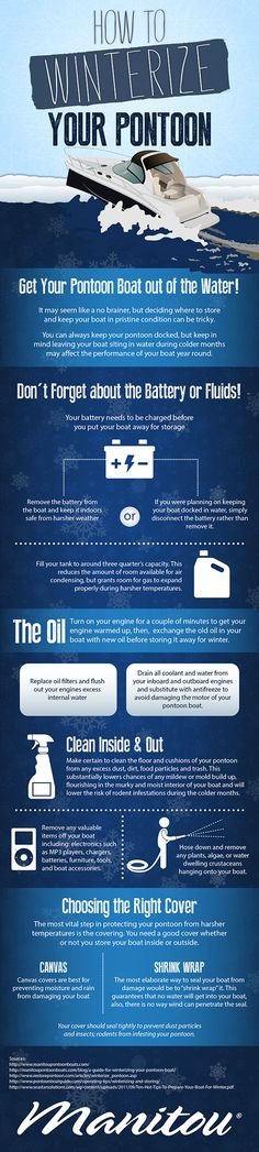 Free Infographic Submission Site: http://infographicplace.com/  Infographic: How to Winterize Your Pontoon. If you have a pontoon boat and live where the winter elements can affect it, take note of the following steps to ensure it is ready for you in the spring.