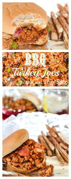 Healthy BBQ Turkey Joe Recipe - Easy, quick dinner! 21 Day Fix: 1 RED, 1/2 GREEN, 1 ORANGE