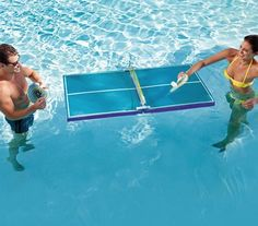 Floating Waterproof Table Tennis. Beginner or expert player, you'll stay cool while playing a heated game of table tennis in the pool.