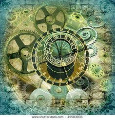Grungy design with mysterious time machines and clock composition