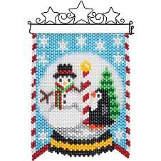 Choose from a wide selection of beaded banner kits from Herrschners! Pony Bead Patterns, Beaded Jewelry Patterns, Peyote Patterns, Beading Patterns, Stitch Patterns, Christmas Perler Beads, Beaded Christmas Ornaments, Pony Bead Crafts, Beaded Crafts