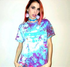 Hand Tie Dyed UFO GALAXY Unisex T Shirt Size Small Screen Printed in Mint Green Ink
